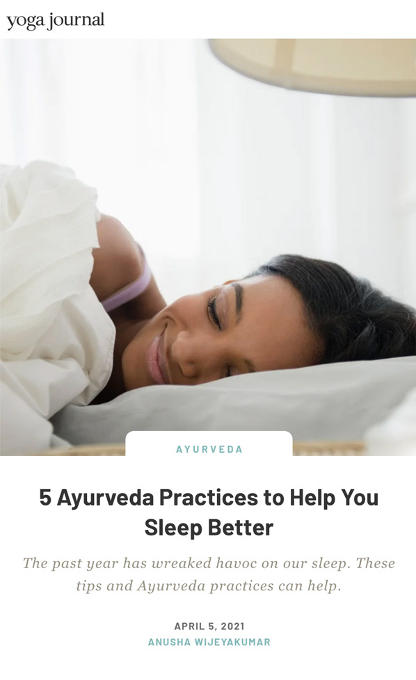 Ayurveda for Sleep